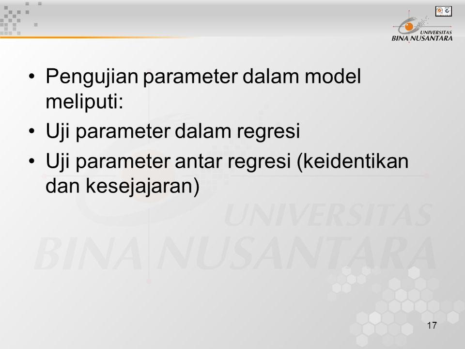 Pengujian parameter dalam model meliputi: