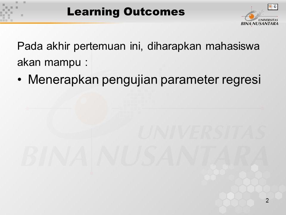 Menerapkan pengujian parameter regresi