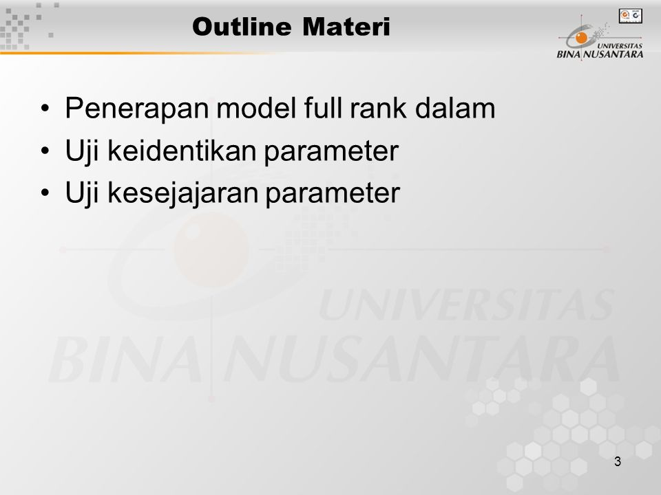 Penerapan model full rank dalam Uji keidentikan parameter