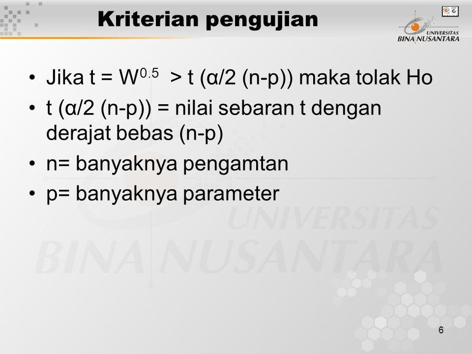 Kriterian pengujian Jika t = W0.5 > t (α/2 (n-p)) maka tolak Ho. t (α/2 (n-p)) = nilai sebaran t dengan derajat bebas (n-p)