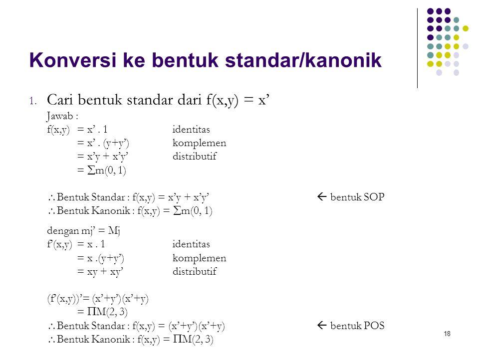 Konversi ke bentuk standar/kanonik