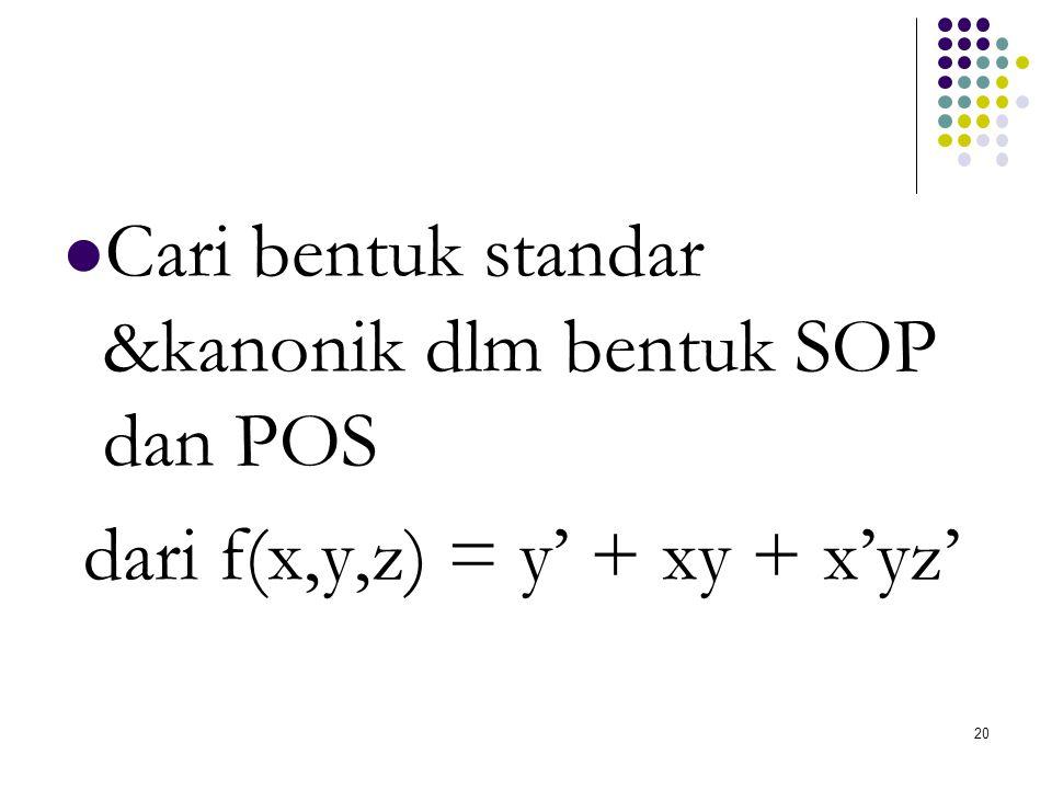 Cari bentuk standar &kanonik dlm bentuk SOP dan POS