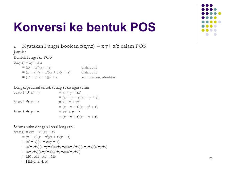 Konversi ke bentuk POS Jawab : Bentuk fungsi ke POS