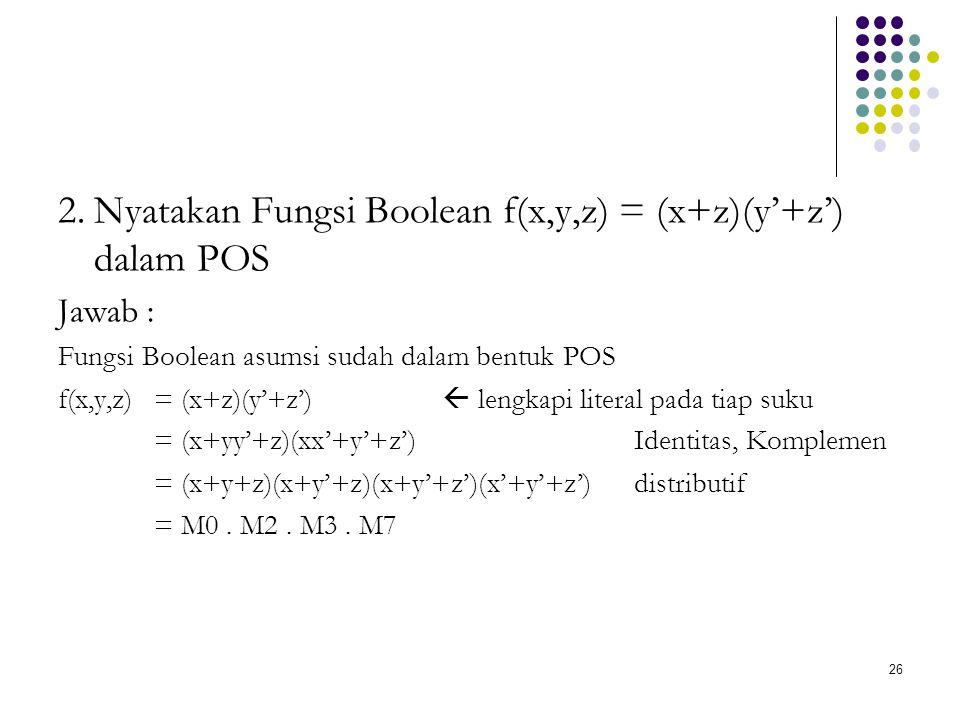 2. Nyatakan Fungsi Boolean f(x,y,z) = (x+z)(y'+z') dalam POS