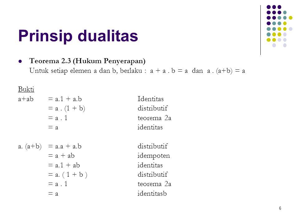 Prinsip dualitas Teorema 2.3 (Hukum Penyerapan)