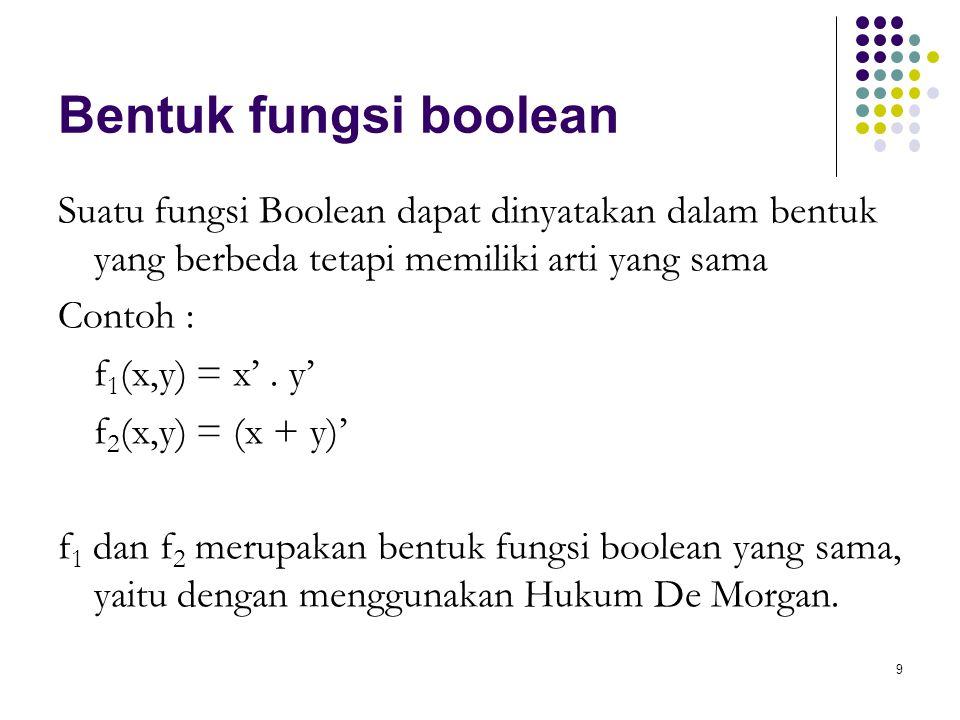 Bentuk fungsi boolean Suatu fungsi Boolean dapat dinyatakan dalam bentuk yang berbeda tetapi memiliki arti yang sama.