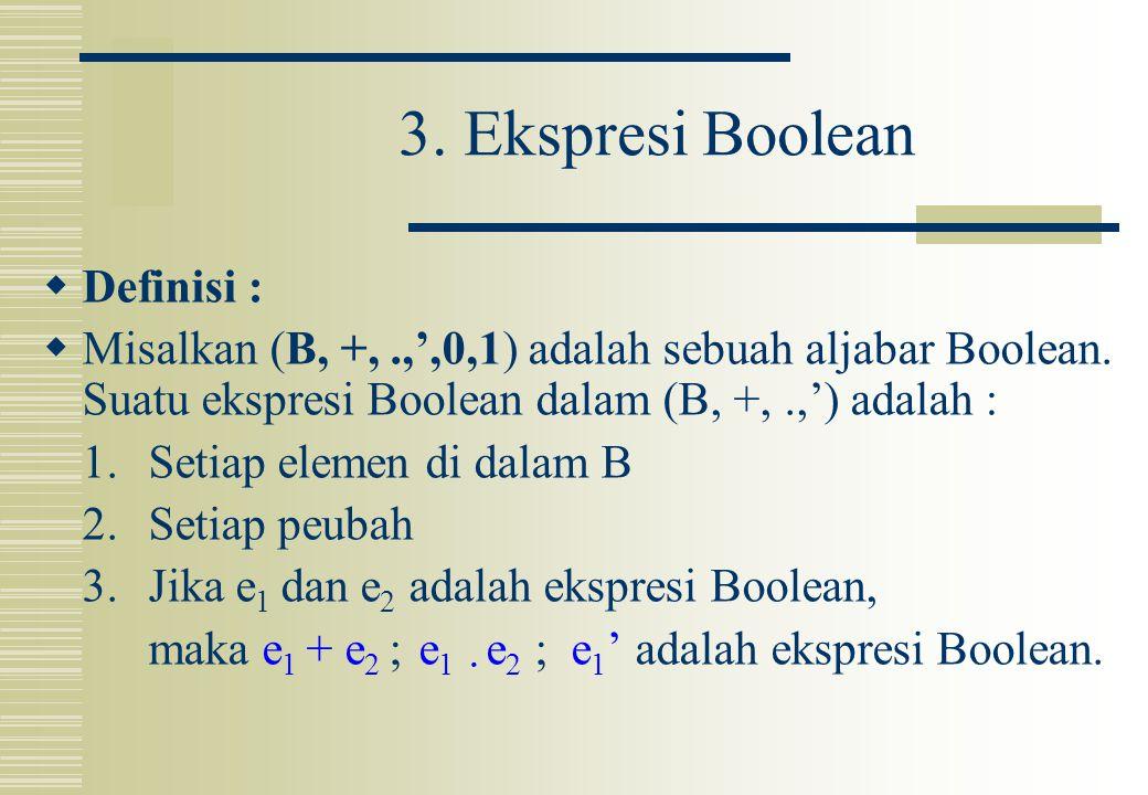 3. Ekspresi Boolean Definisi :