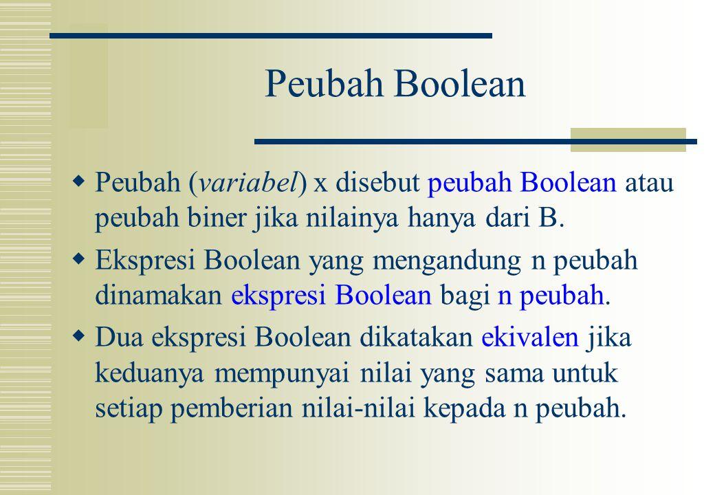 Peubah Boolean Peubah (variabel) x disebut peubah Boolean atau peubah biner jika nilainya hanya dari B.