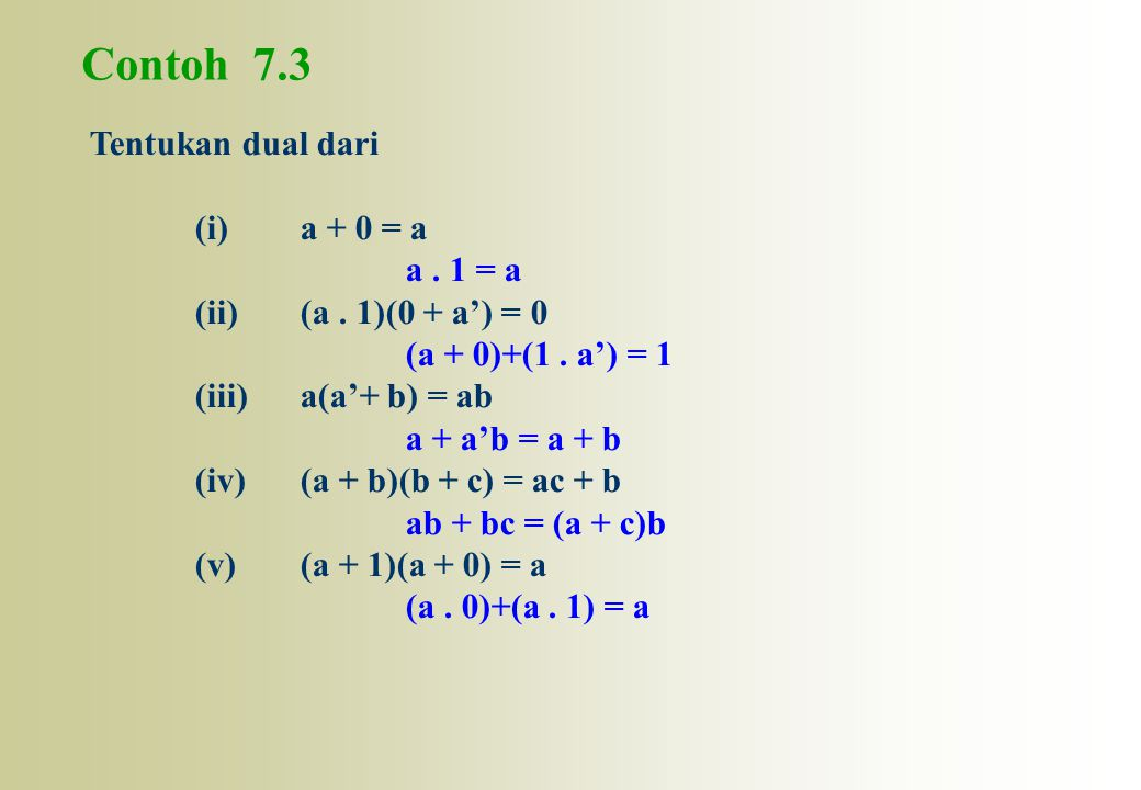 Contoh 7.3 Tentukan dual dari (i) a + 0 = a a . 1 = a