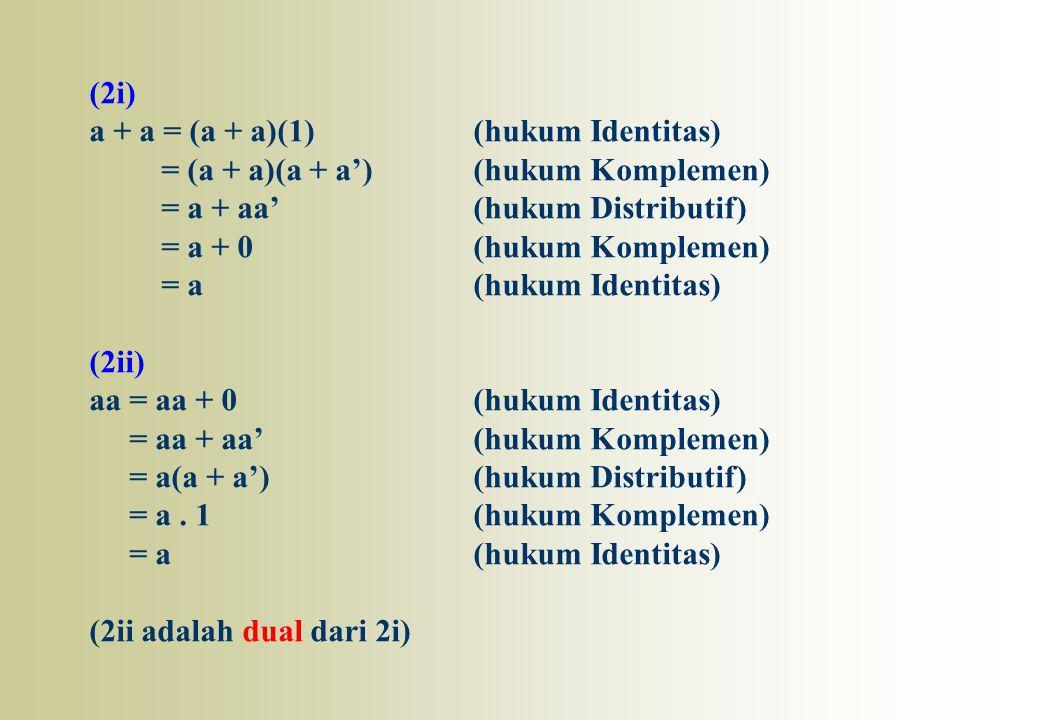 (2i) a + a = (a + a)(1) (hukum Identitas) = (a + a)(a + a') (hukum Komplemen) = a + aa' (hukum Distributif)