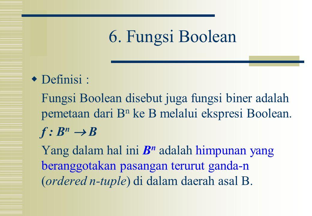 6. Fungsi Boolean Definisi :