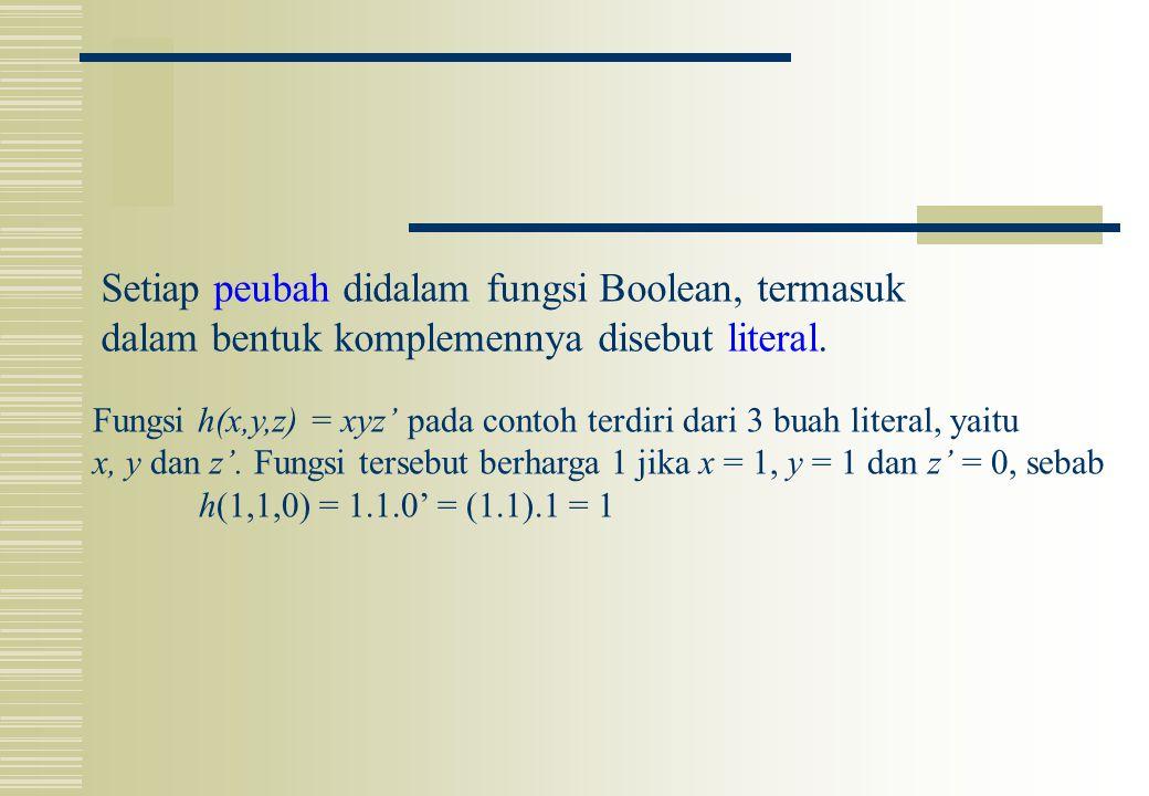 Setiap peubah didalam fungsi Boolean, termasuk