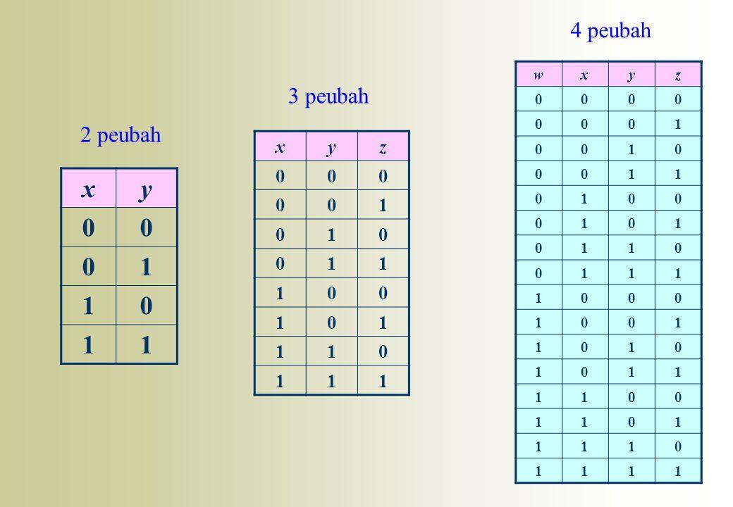 4 peubah w x y z 1 3 peubah 2 peubah x y z 1 x y 1