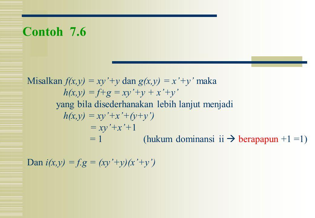 Contoh 7.6 Misalkan f(x,y) = xy'+y dan g(x,y) = x'+y' maka