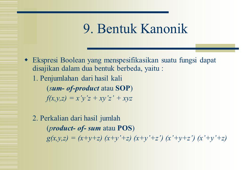 9. Bentuk Kanonik Ekspresi Boolean yang menspesifikasikan suatu fungsi dapat disajikan dalam dua bentuk berbeda, yaitu :