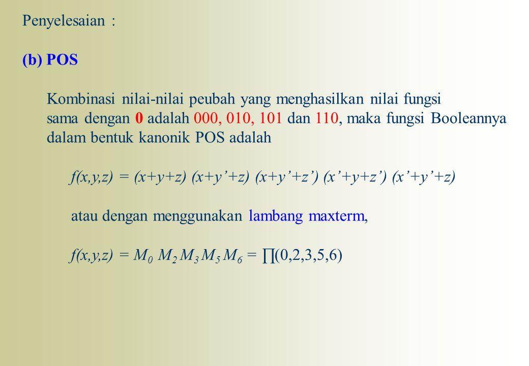 Penyelesaian : (b) POS. Kombinasi nilai-nilai peubah yang menghasilkan nilai fungsi.