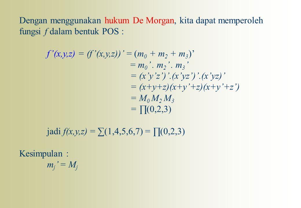 Dengan menggunakan hukum De Morgan, kita dapat memperoleh