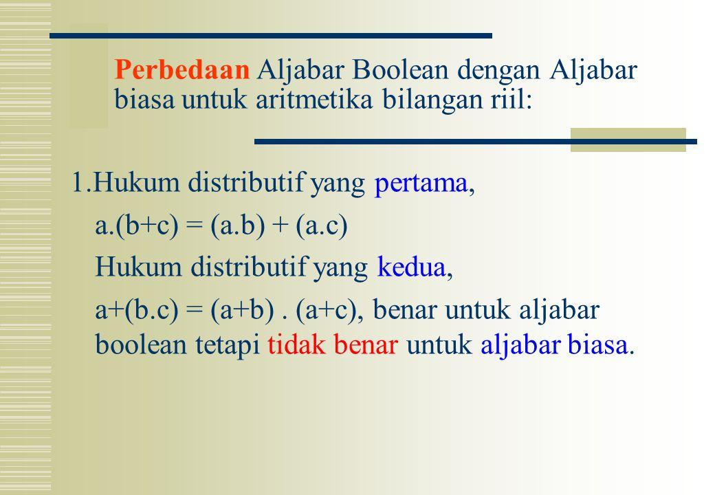Perbedaan Aljabar Boolean dengan Aljabar biasa untuk aritmetika bilangan riil: