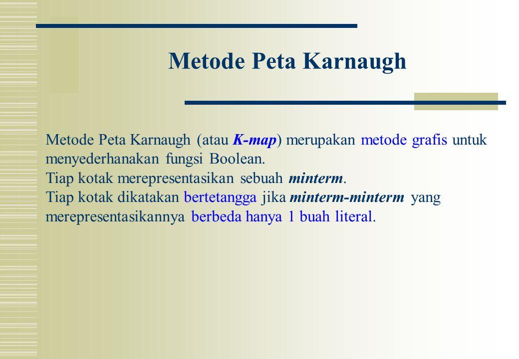 Metode Peta Karnaugh Metode Peta Karnaugh (atau K-map) merupakan metode grafis untuk. menyederhanakan fungsi Boolean.