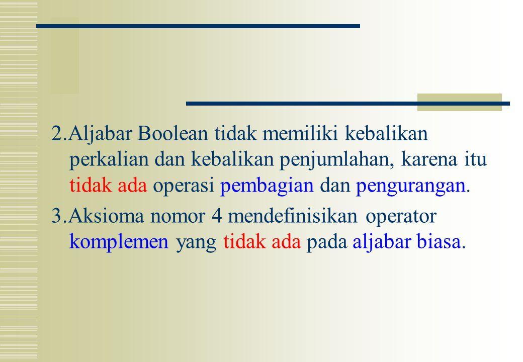 2.Aljabar Boolean tidak memiliki kebalikan perkalian dan kebalikan penjumlahan, karena itu tidak ada operasi pembagian dan pengurangan.