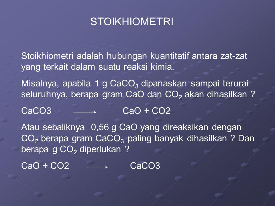 STOIKHIOMETRI Stoikhiometri adalah hubungan kuantitatif antara zat-zat yang terkait dalam suatu reaksi kimia.