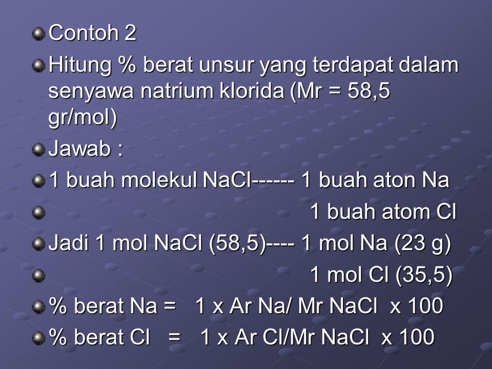 Contoh 2 Hitung % berat unsur yang terdapat dalam senyawa natrium klorida (Mr = 58,5 gr/mol) Jawab :