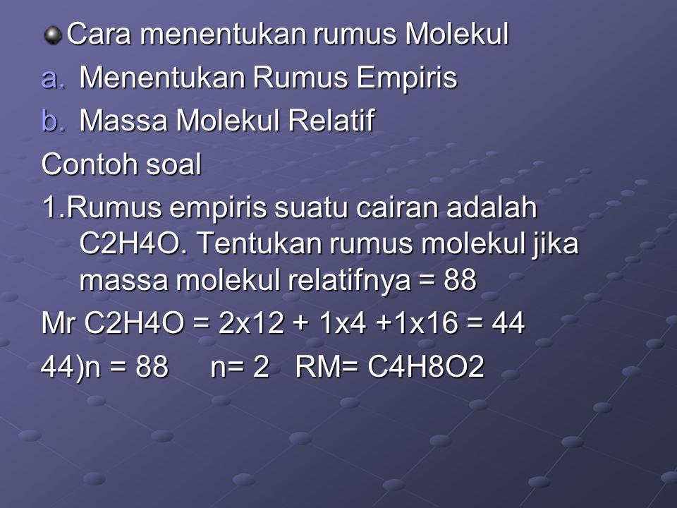 Cara menentukan rumus Molekul