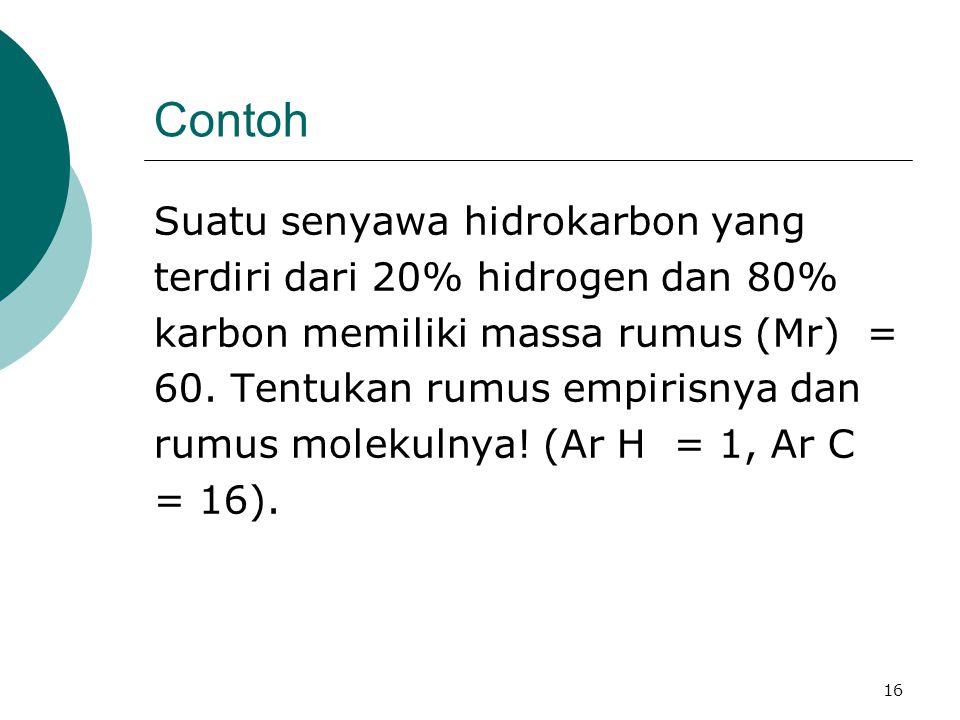 Contoh Suatu senyawa hidrokarbon yang