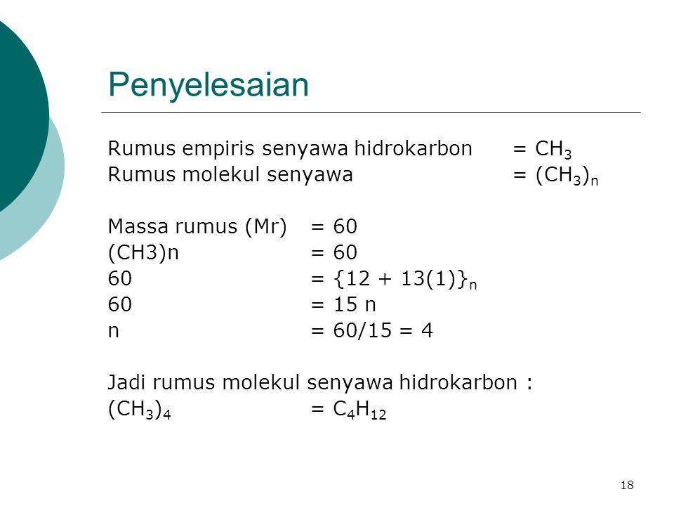 Penyelesaian Rumus empiris senyawa hidrokarbon = CH3