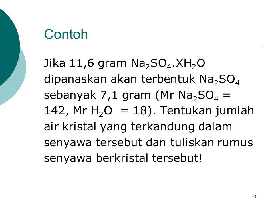 Contoh Jika 11,6 gram Na2SO4.XH2O dipanaskan akan terbentuk Na2SO4