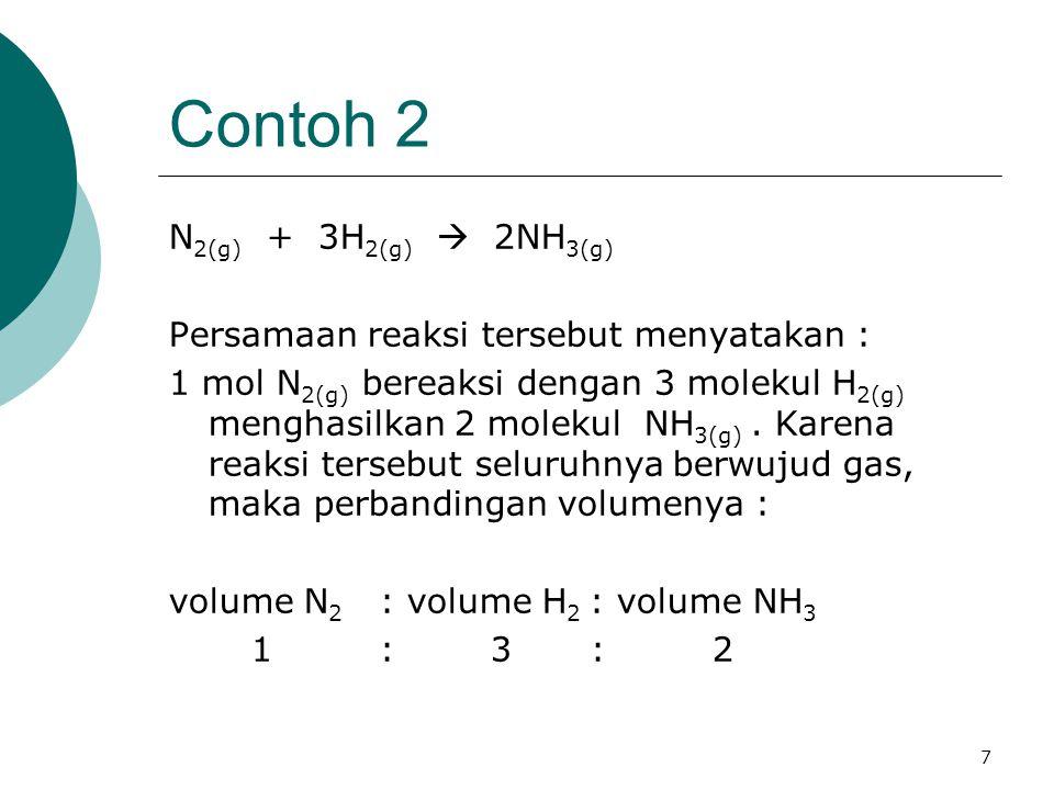 Contoh 2 N2(g) + 3H2(g)  2NH3(g)