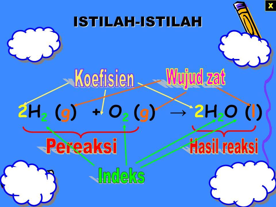 2H2 (g) + O2 (g) → 2H2O (l) ISTILAH-ISTILAH X Koefisien Wujud zat