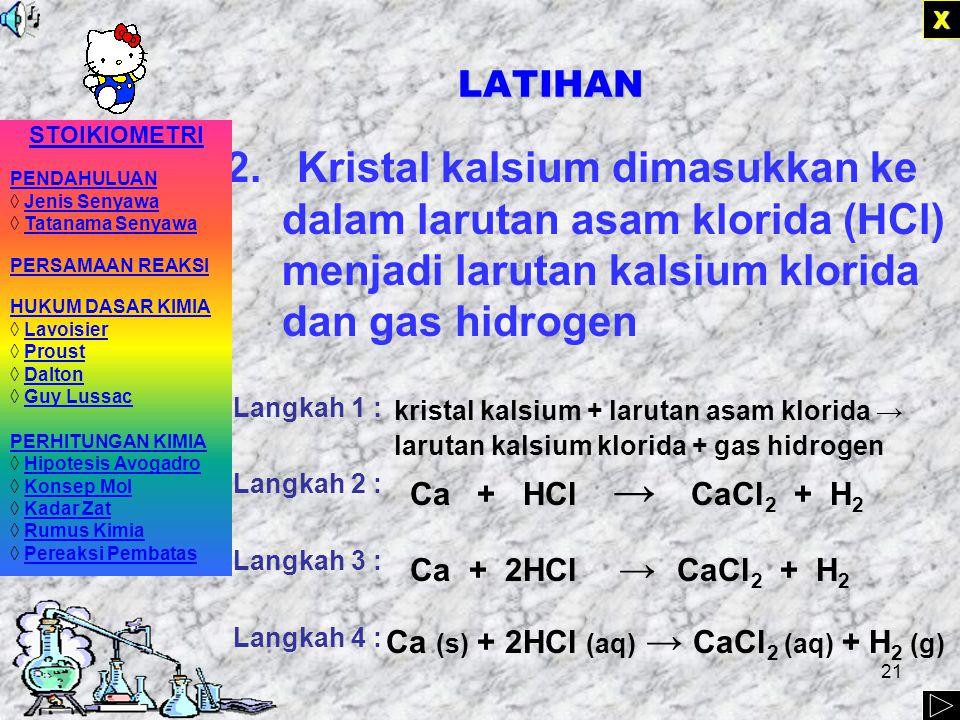X LATIHAN. STOIKIOMETRI. PENDAHULUAN. ◊ Jenis Senyawa. ◊ Tatanama Senyawa. PERSAMAAN REAKSI. HUKUM DASAR KIMIA.