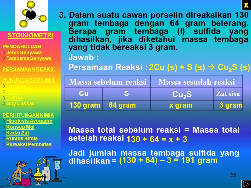 Jadi jumlah massa tembaga sulfida yang dihasilkan =