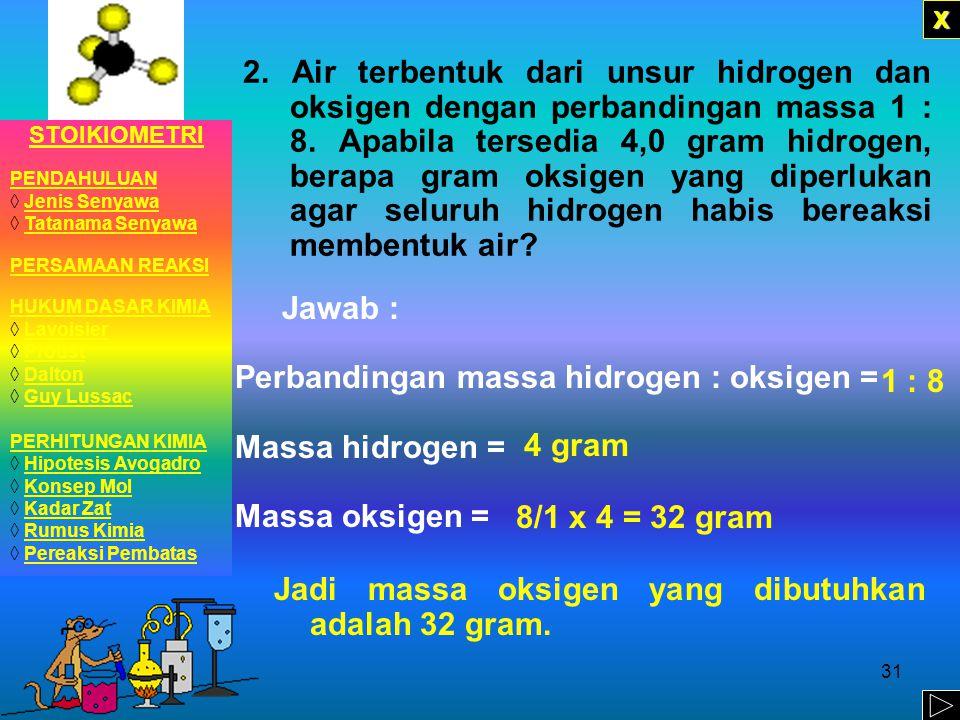 Perbandingan massa hidrogen : oksigen = Massa hidrogen =