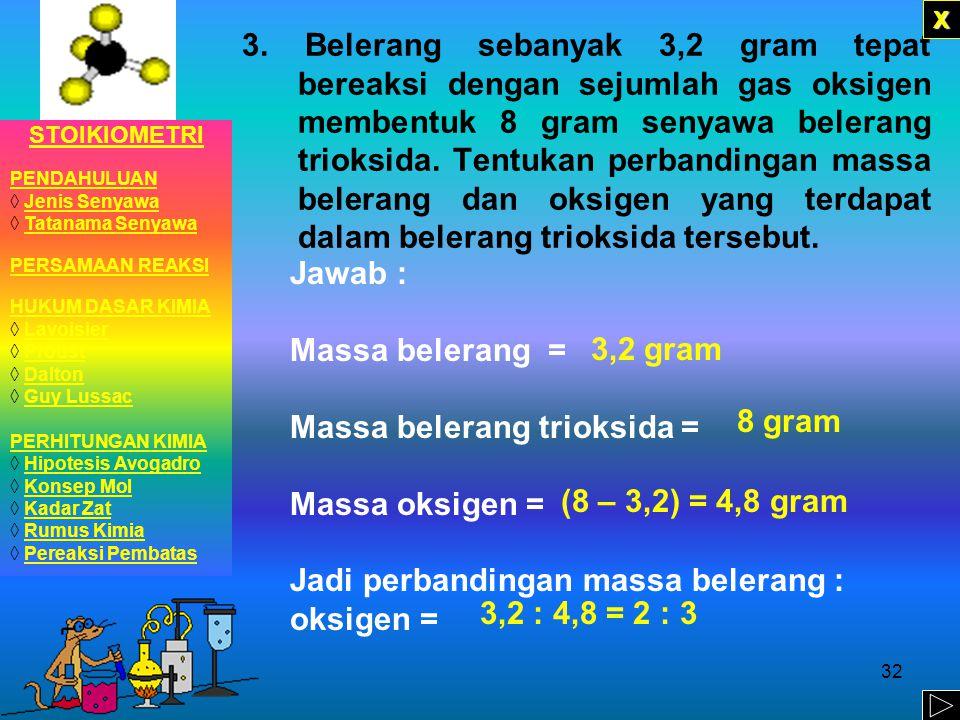 Massa belerang trioksida = Massa oksigen =