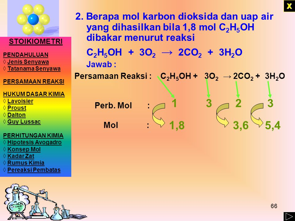 X 2. Berapa mol karbon dioksida dan uap air yang dihasilkan bila 1,8 mol C2H5OH dibakar menurut reaksi.