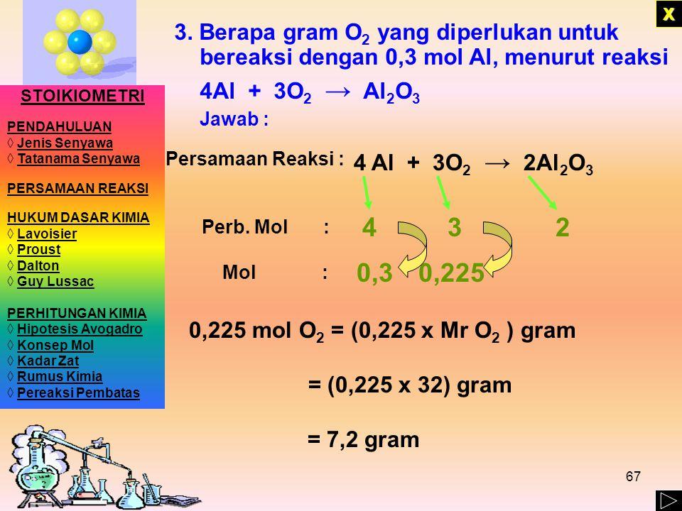 X 3. Berapa gram O2 yang diperlukan untuk bereaksi dengan 0,3 mol Al, menurut reaksi. 4Al + 3O2 → Al2O3.