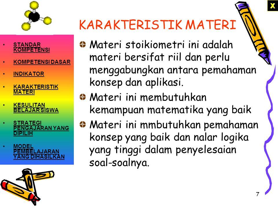 X KARAKTERISTIK MATERI. STANDAR KOMPETENSI. KOMPETENSI DASAR. INDIKATOR. KARAKTERISTIK MATERI. KESULITAN BELAJAR SISWA.