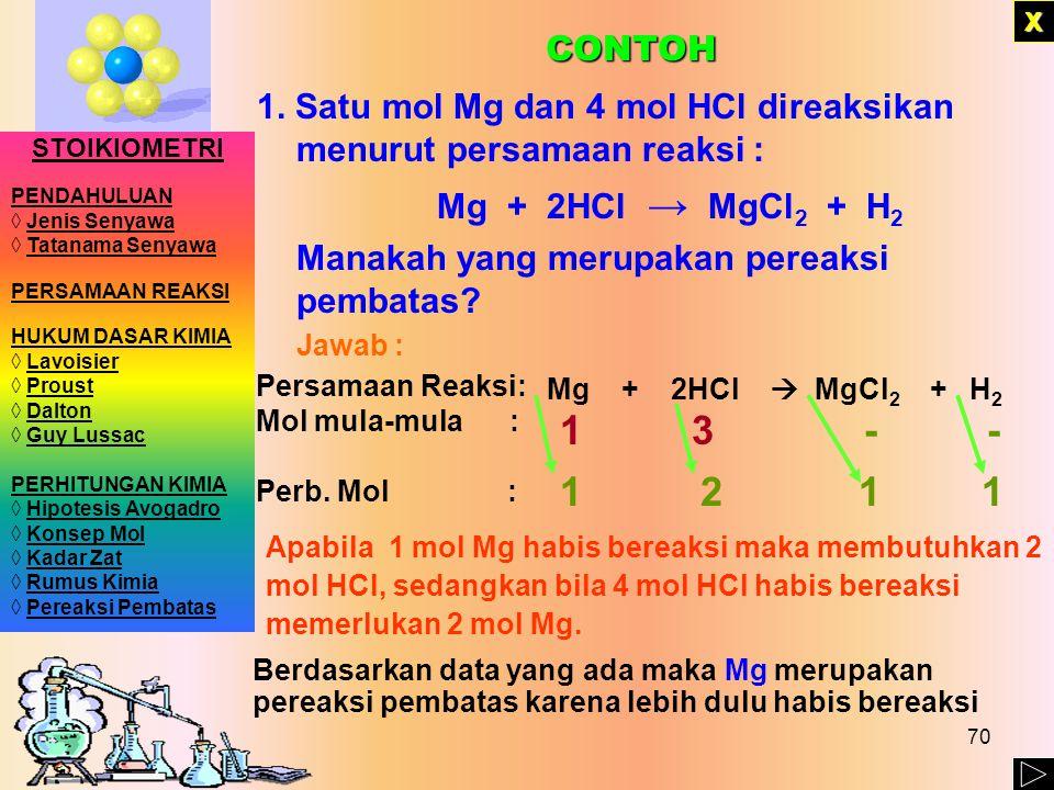 1. Satu mol Mg dan 4 mol HCl direaksikan menurut persamaan reaksi :