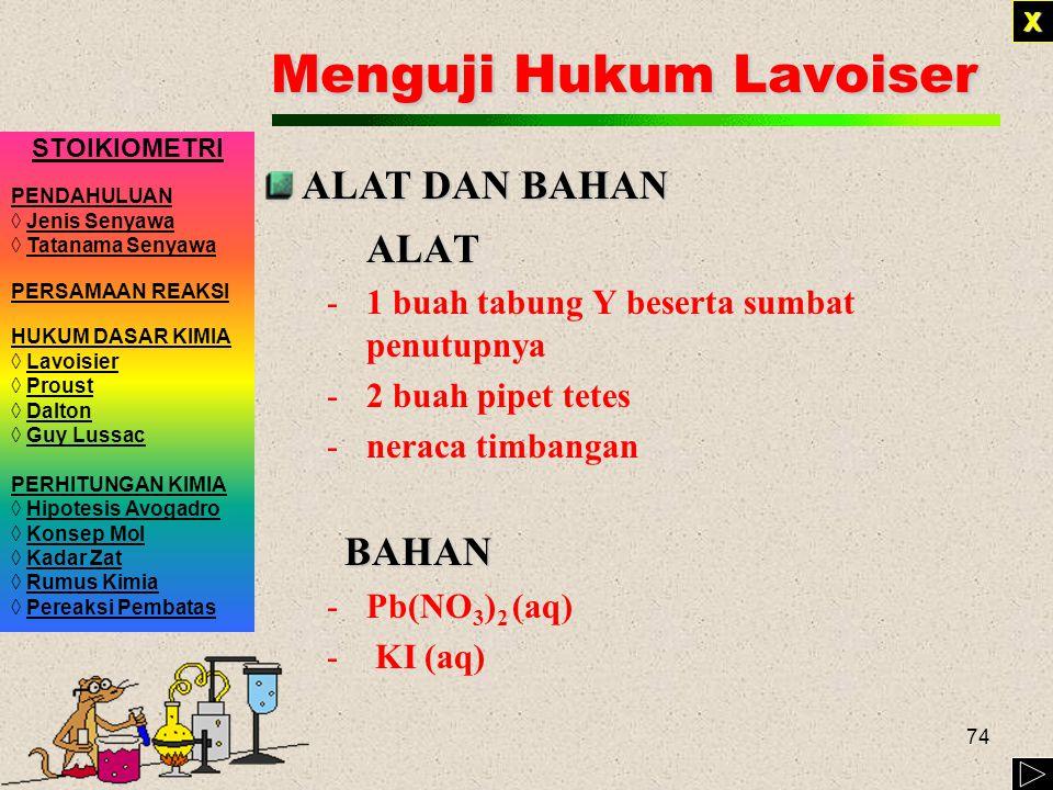 Menguji Hukum Lavoiser