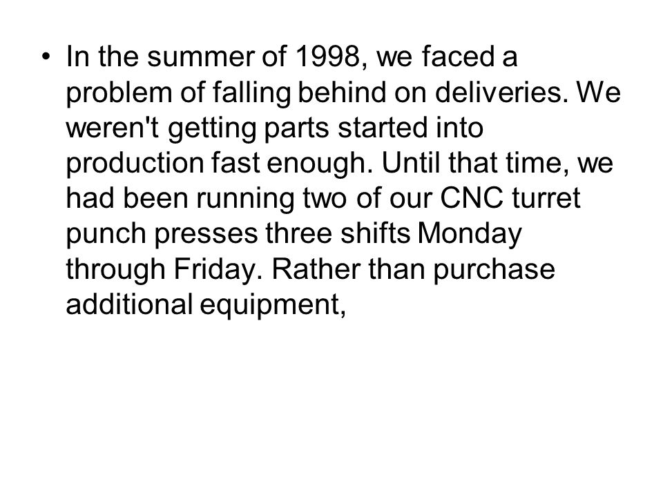 In the summer of 1998, we faced a problem of falling behind on deliveries.