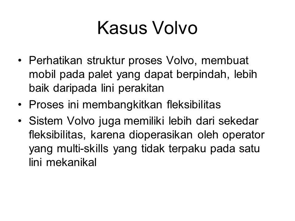 Kasus Volvo Perhatikan struktur proses Volvo, membuat mobil pada palet yang dapat berpindah, lebih baik daripada lini perakitan.
