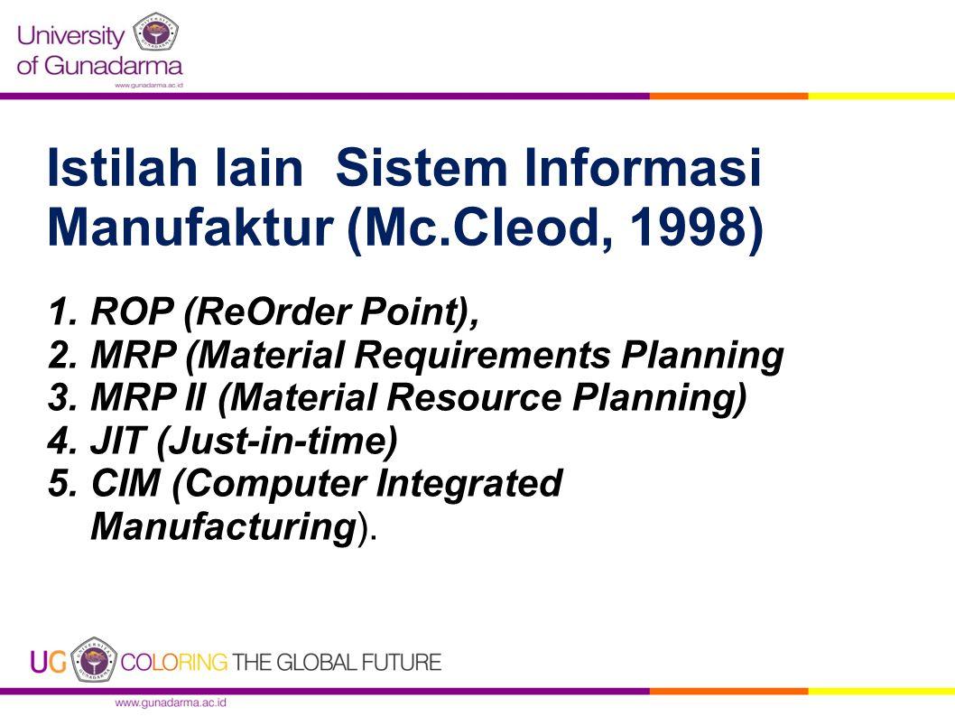 Istilah lain Sistem Informasi Manufaktur (Mc.Cleod, 1998)