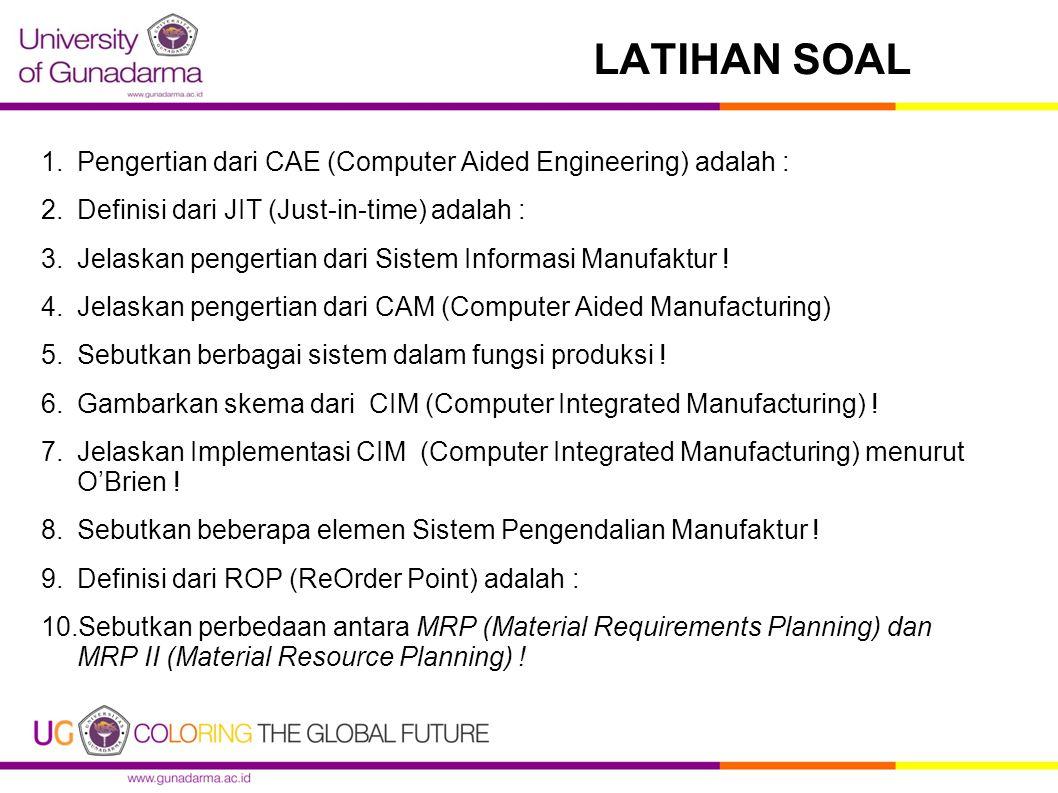 LATIHAN SOAL Pengertian dari CAE (Computer Aided Engineering) adalah :