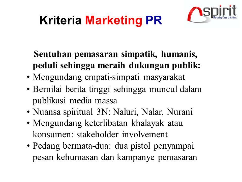 Kriteria Marketing PR Sentuhan pemasaran simpatik, humanis, peduli sehingga meraih dukungan publik: