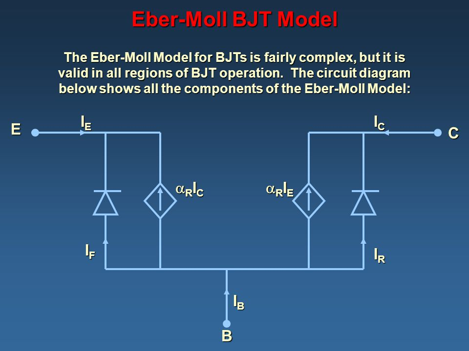 Eber-Moll BJT Model IE IC E C RIC RIE IF IR IB B