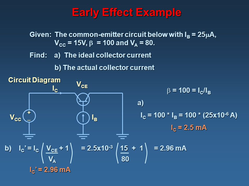 Early Effect Example Given: The common-emitter circuit below with IB = 25A, VCC = 15V,  = 100 and VA = 80.