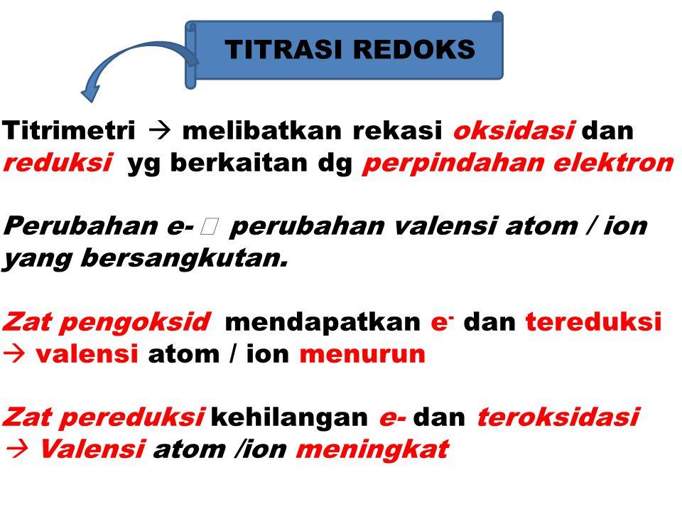 TITRASI REDOKS Titrimetri  melibatkan rekasi oksidasi dan. reduksi yg berkaitan dg perpindahan elektron.
