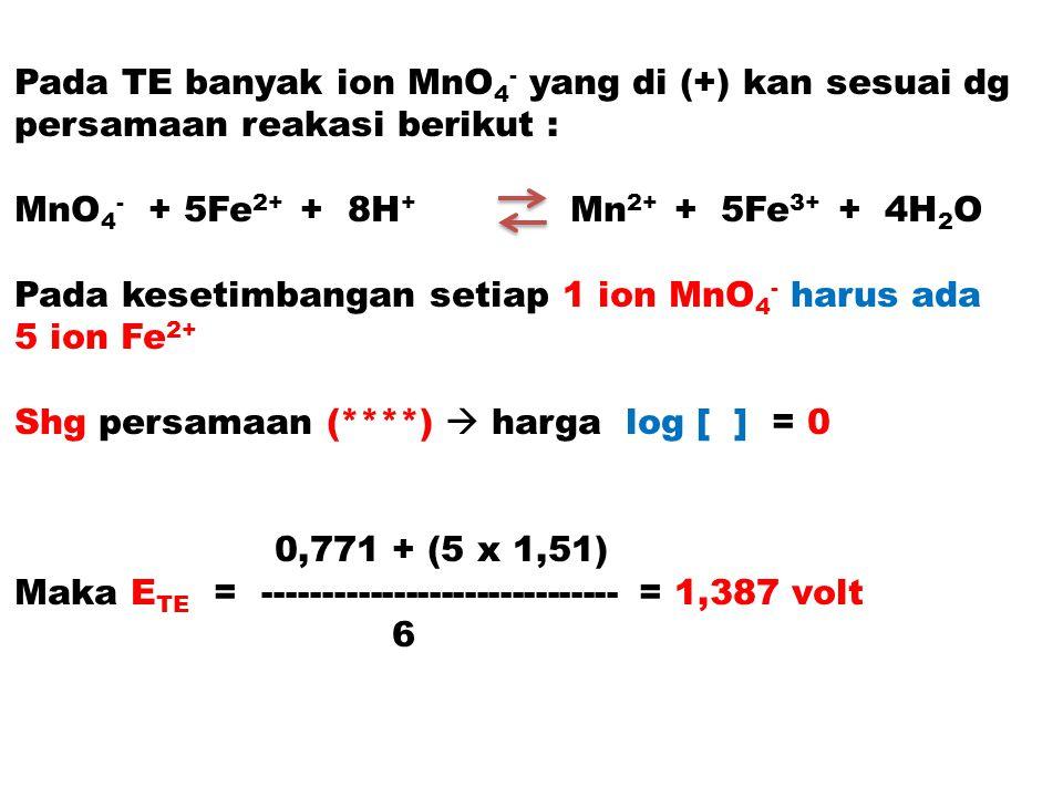 Pada TE banyak ion MnO4- yang di (+) kan sesuai dg